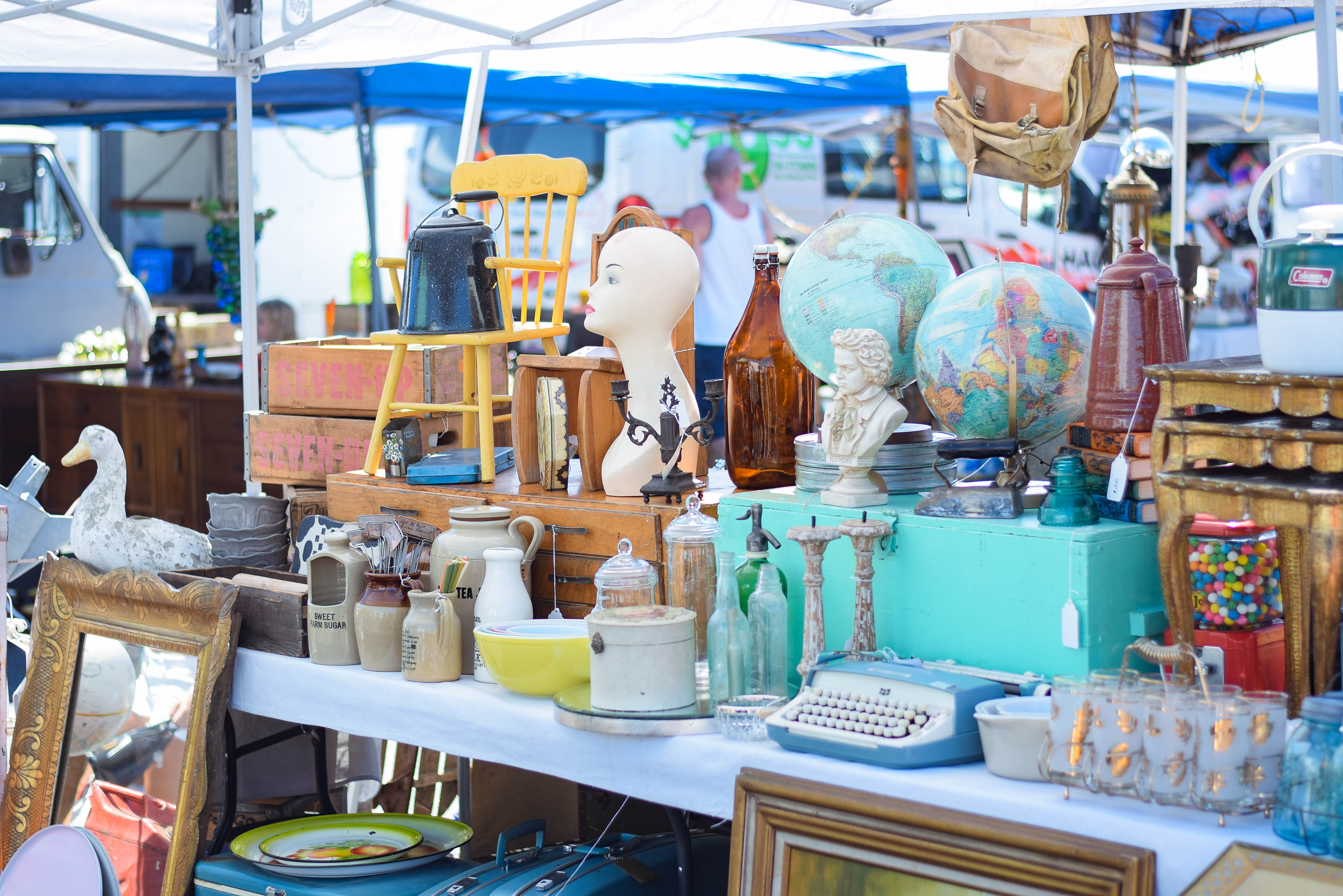Vintage Items Being Sold By A Local Vender At The Long Beach Antique Market